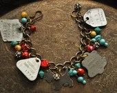 Vintage Scottie Dog Tag Charm Bracelet in Silver, Red, Turquoise, Yellow - Vintage Assemblage