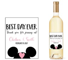 Disney Wedding Wine Bottle Labels with Mickey Ears