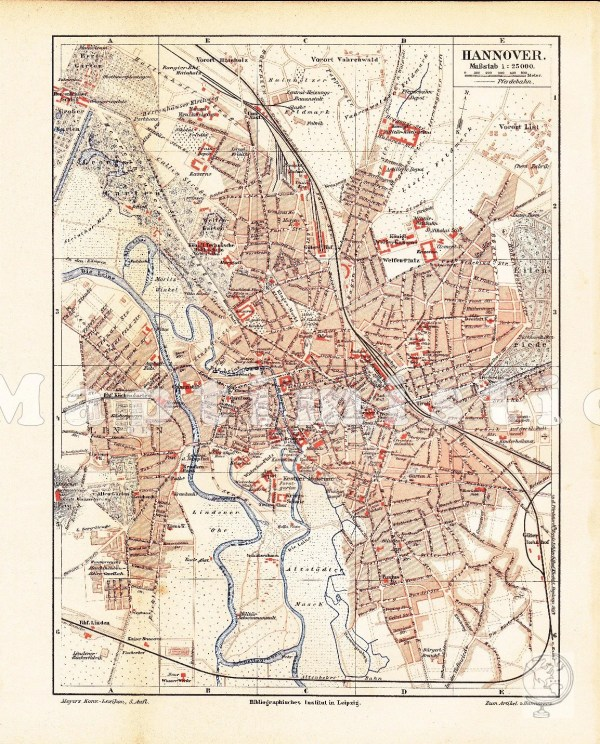 1895 City Map of Hannover or Hanover Prussian Province of