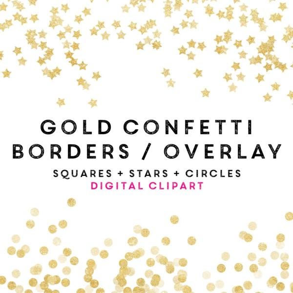 gold confetti borders clipart valentines