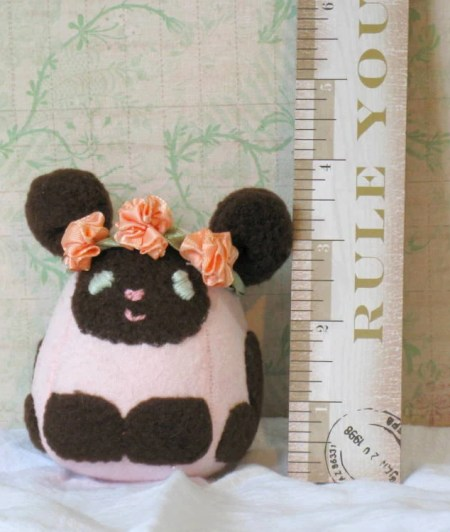 Pink Flower Crown Lamb: Mini Sheep Plush With Hand-Embroidered Features Made With Soft Flannel and Fleece