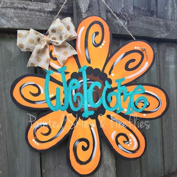 Items similar to Flower Door Hanger  Sunflower  Summer