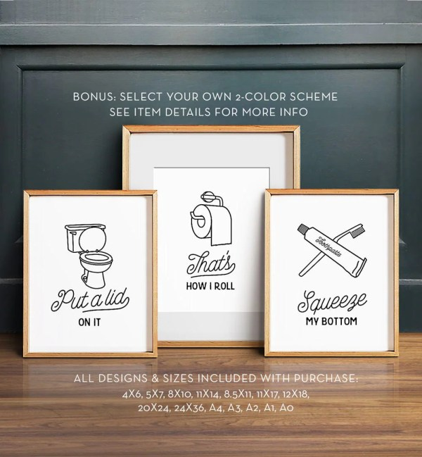 Funny Wall Art Bathroom Printable Set Of 3