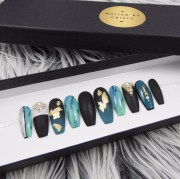 matte black nails handpainted turquoise