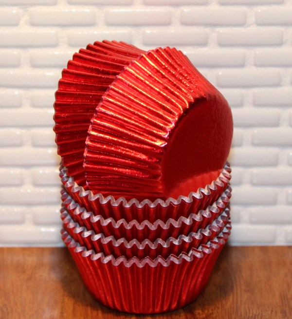 Elegant Red Foil Cupcake Liners Qty 50 Red Foil Cupcake