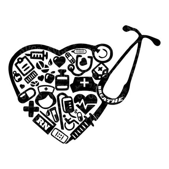 svg rn collage stethoscope heart