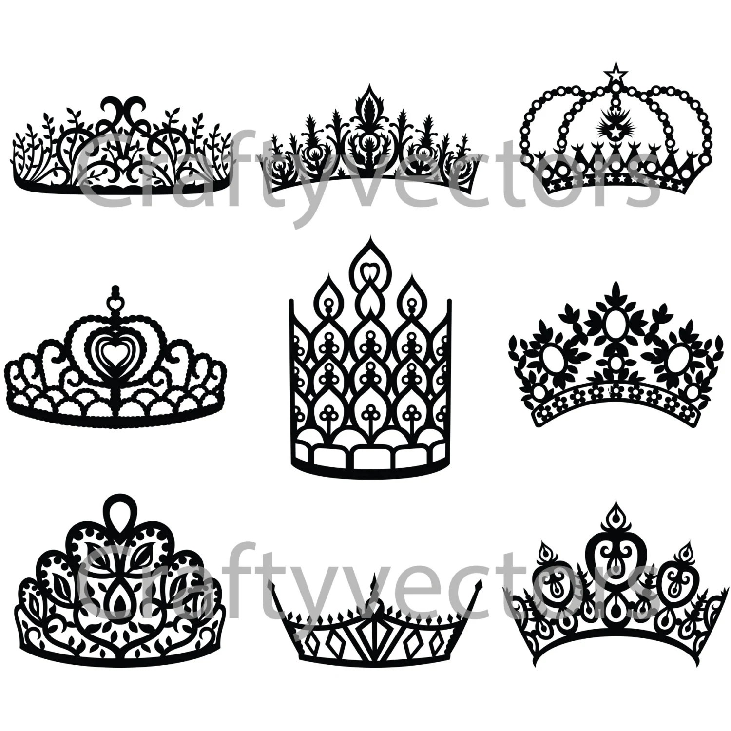Crowns and Tiaras 2 vector file from CraftyVectors on Etsy