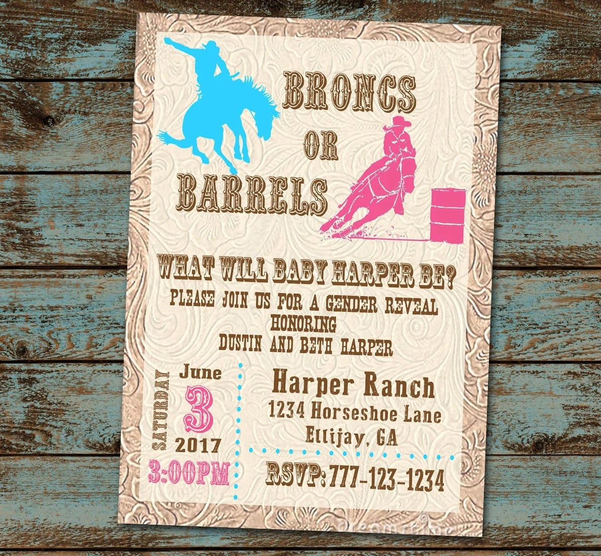 Broncs or Barrels Gender Reveal Gender Reveal Party