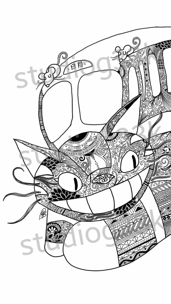Digital My Neighbor Totoro Zentangle Printable Coloring Sheet