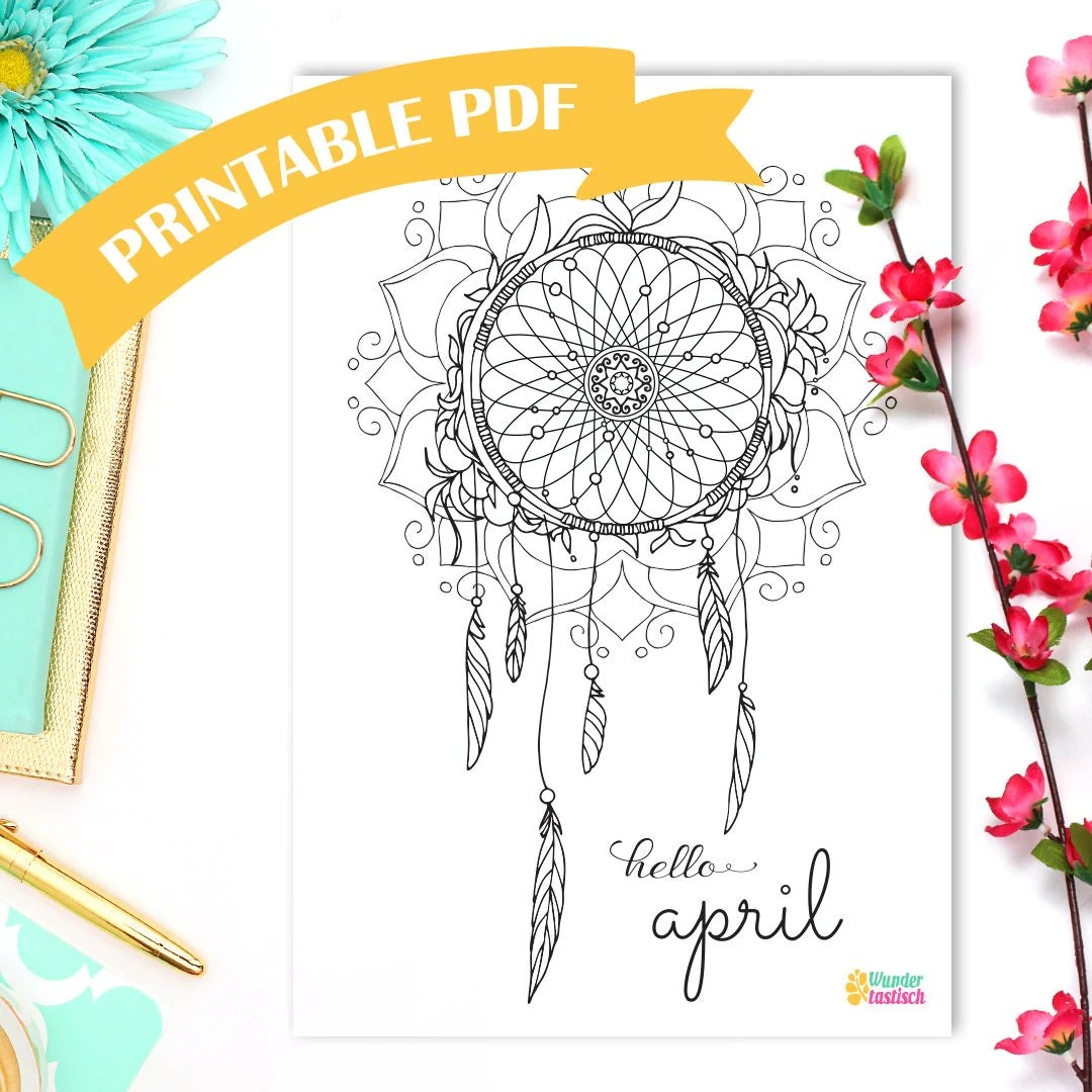 Printable Dreamcatcher Coloring Page Monthly Bullet Journal Printables Hello April Adult