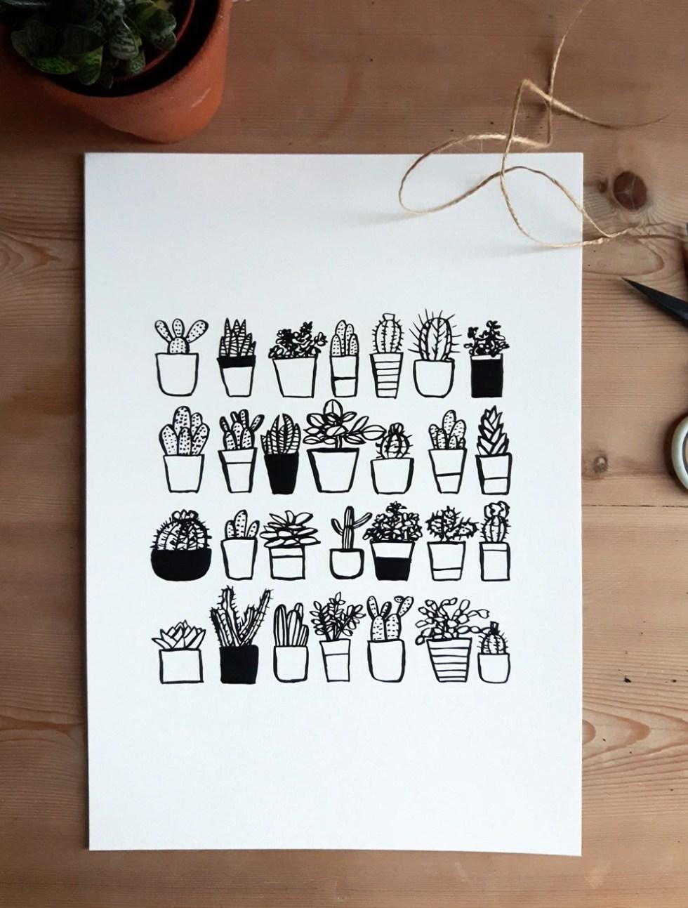 Plant pots print. Cacti i...