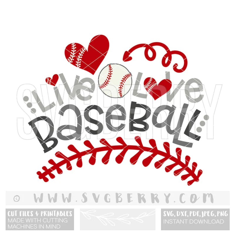 Download Live Love Baseball SVG / baseball shirt cap hat tee wreath