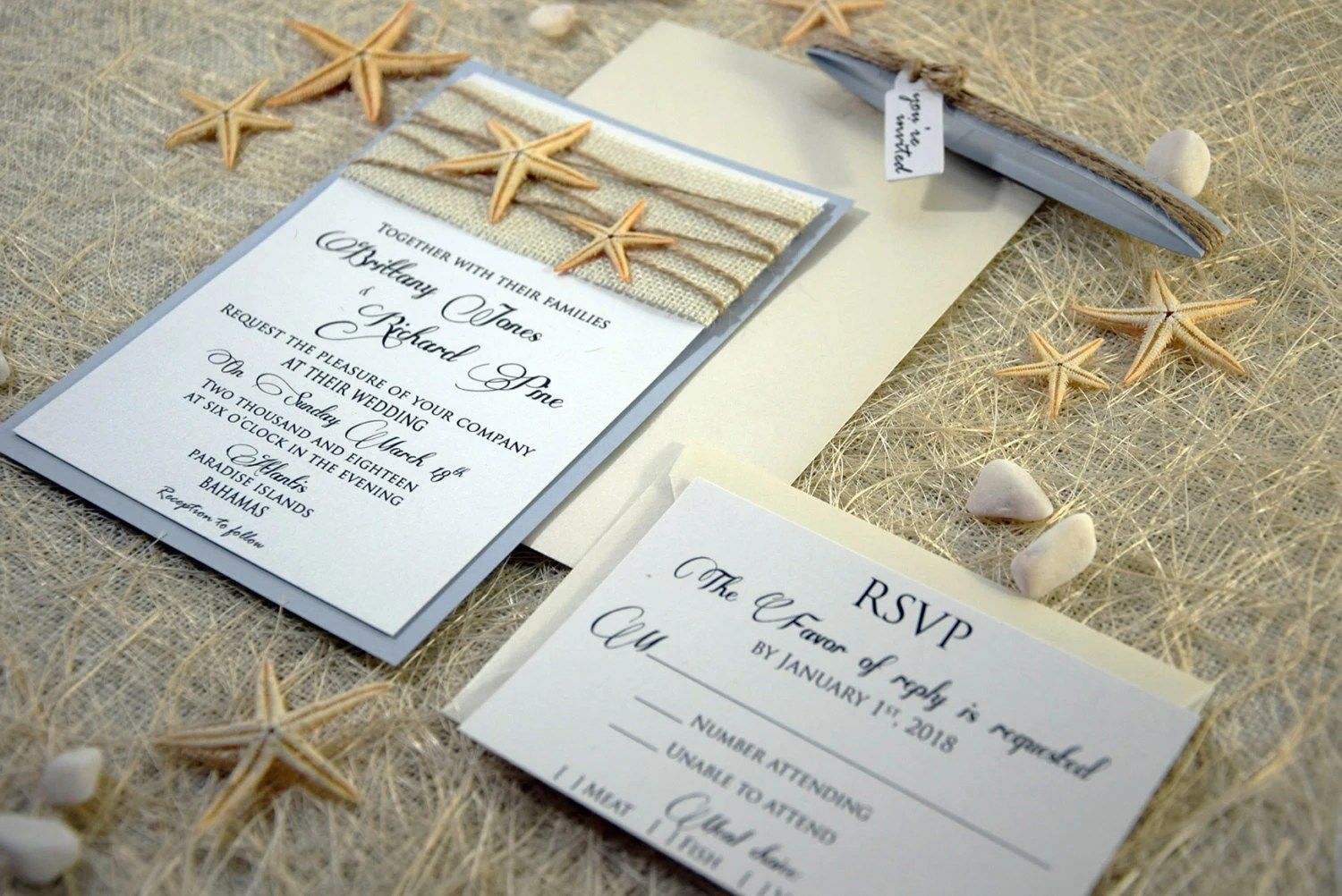 Custom Invitations Burlap Wedding Invitation Beach Wedding