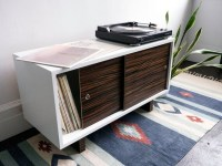Record Player Stand and Media Console White Lacquer with