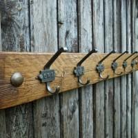 Vintage Industrial Railway Coat Hooks Rustic Coat Rack