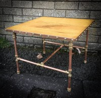 Reclaimed Oak Flooring Coffee table with copper pipe base