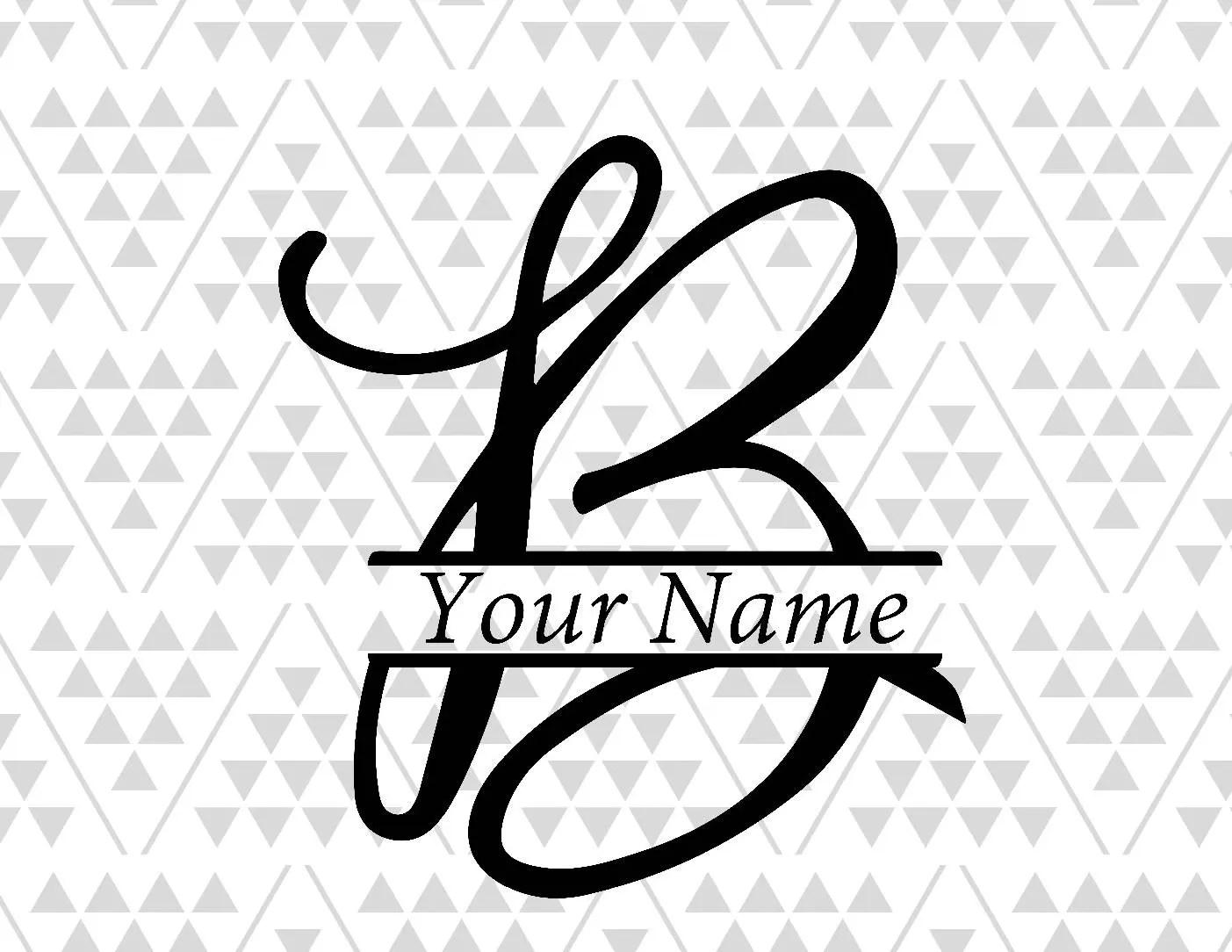 Monogram Letter B Split Letter B Silhouette Files Digital