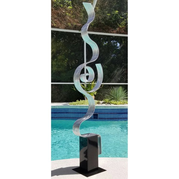 Large Silver Contemporary Metal Sculpture Outdoor Abstract