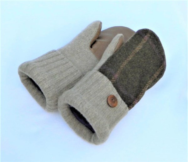 Woman' Felted Wool Mittens Brown Leather Palms