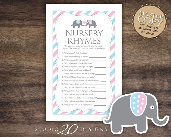 Instant Download Gender Reveal Elephant Nursery Rhyme Quiz
