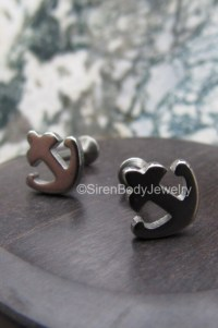 Tragus piercing earring 16g anchor flat back earrings helix