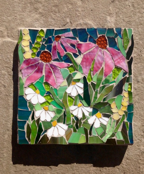 Wild Flowers Mosaic Order Stained Glass Wall