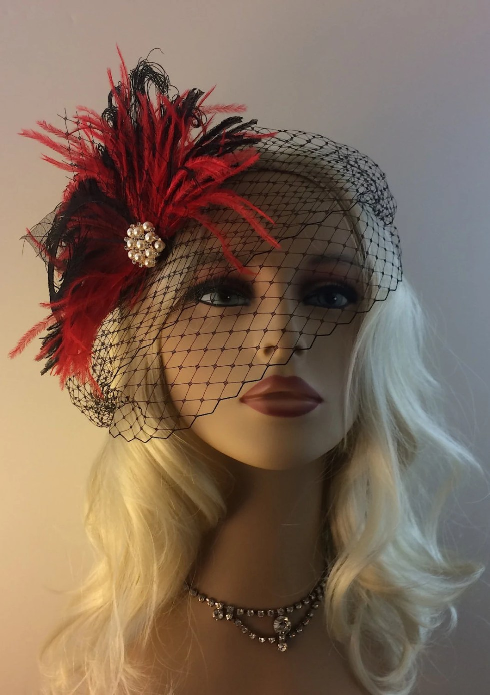 Bridal Hair Clip, Bridal Feather Fascinator, Bridal Headpiece, Wedding Veil, Wedding Fascinator, Feather Fascinator, Black and Red, Pearls
