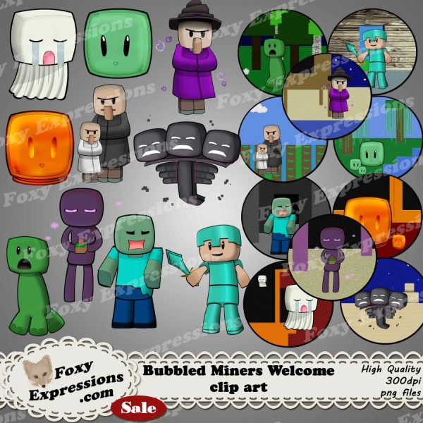 Bubbled Miners Clip Art Pack With 10 Characters
