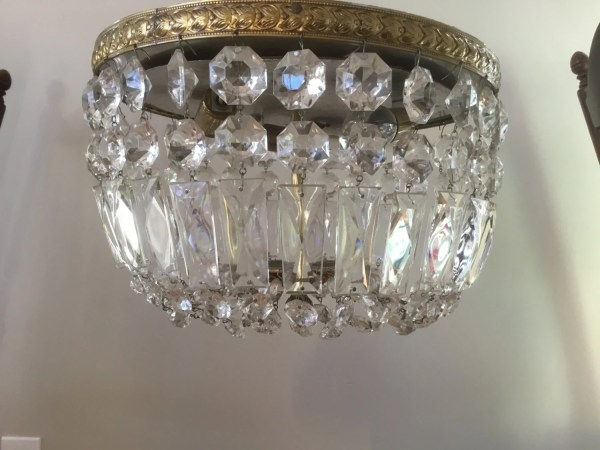 Vintage Italian Crystal Beaded Flush Mount Chandelier Ceiling