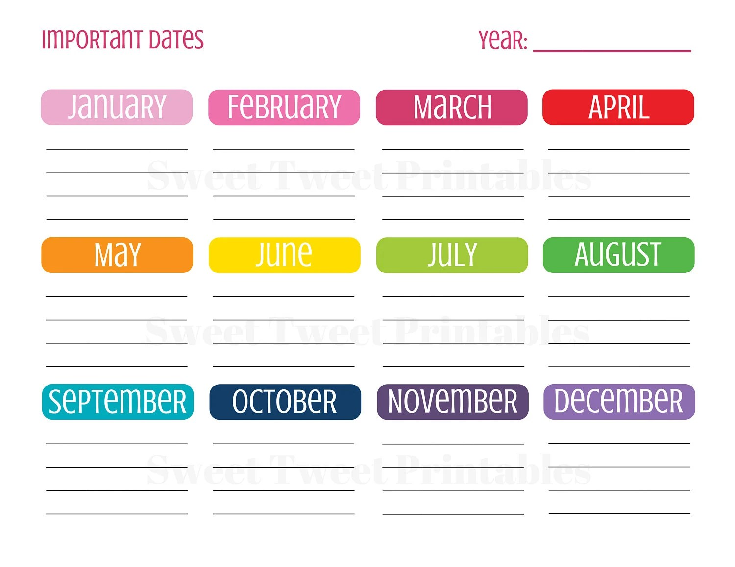 Important Dates Planner Planner Printables Planner Page