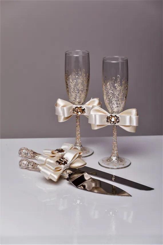 Wedding Glasses And Cake Server Set Wedding Cake Knife Ivory
