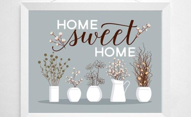 Home Sweet Home Print Wall Decor Art Flower Cotton Dried