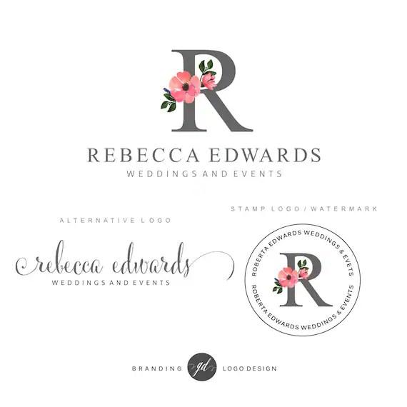 Wedding planner logo design Premade Branding Kit Flower logo