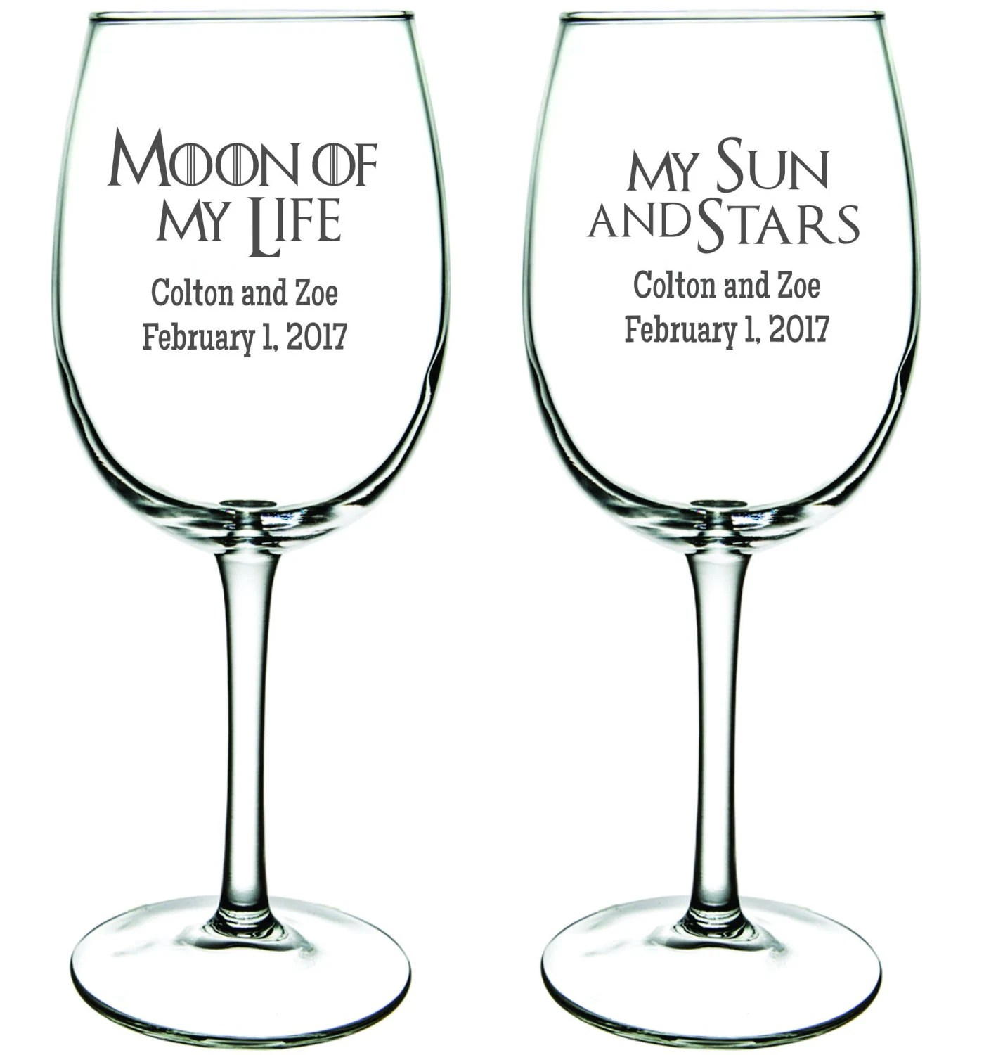 Game of Thrones Wine Glasses Moon of My Life My Sun and