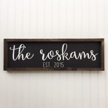 Personalized Framed Wood Sign Cursive Handwritten - Year of