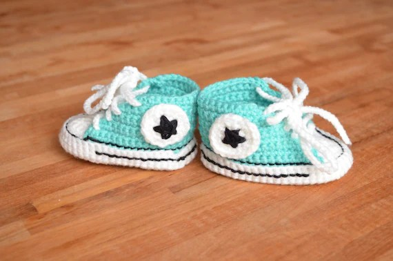 Newborn All Star Baby Booties - Crochet Baby Shoes