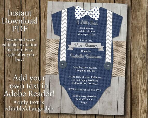 Boy Baby Shower Invitation Instant Download Bow Tie Suspenders