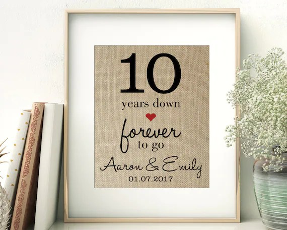 10 Years Down Forever To Go 10th Tenth Wedding Anniversary