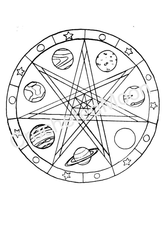 Printable faerie star planets coloring page digital download