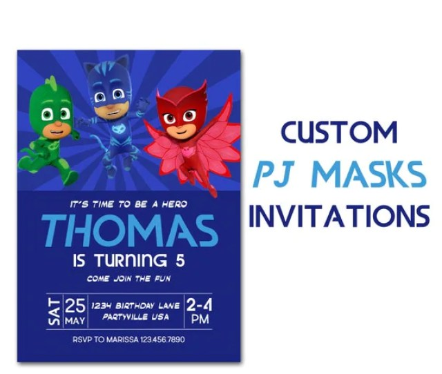 Pj Masks Inspired Birthday Invitation Custom Party Invite Pj Masks
