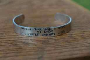 "The Secret Garden - Where you tend a rose..."" Metal Stamped Literary Quote Cuff Bracelet - Frances Hodgson Burnett"