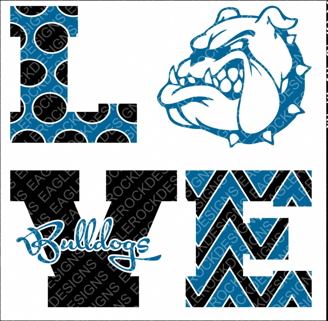 Download Love Bulldogs SVG DXF EPS Png Cut File For Cameo and