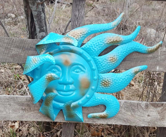 Large Metal Sun Wall Art Turquoise Antique Brasss Garden Decor