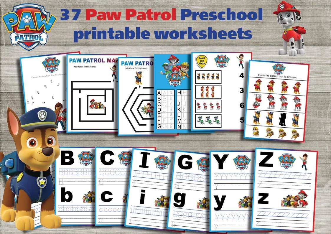 Paw Patrol Preschool Printable Worksheets Package Learning
