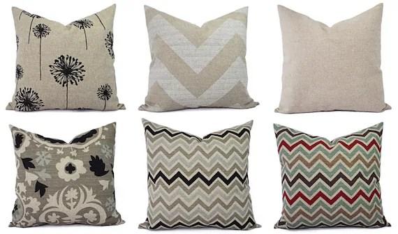 Burlap Pillows Brown Decorative Pillow Cover Black Pillow