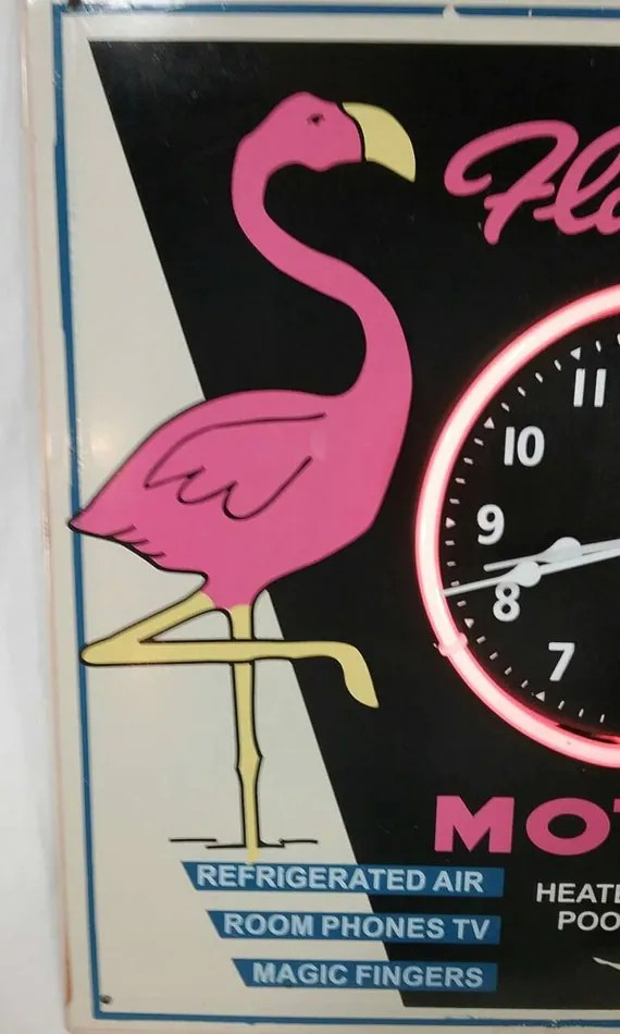 Vintage style flamingo motel pink neon sign clock by
