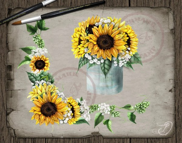 sunflower watercolor country clipart