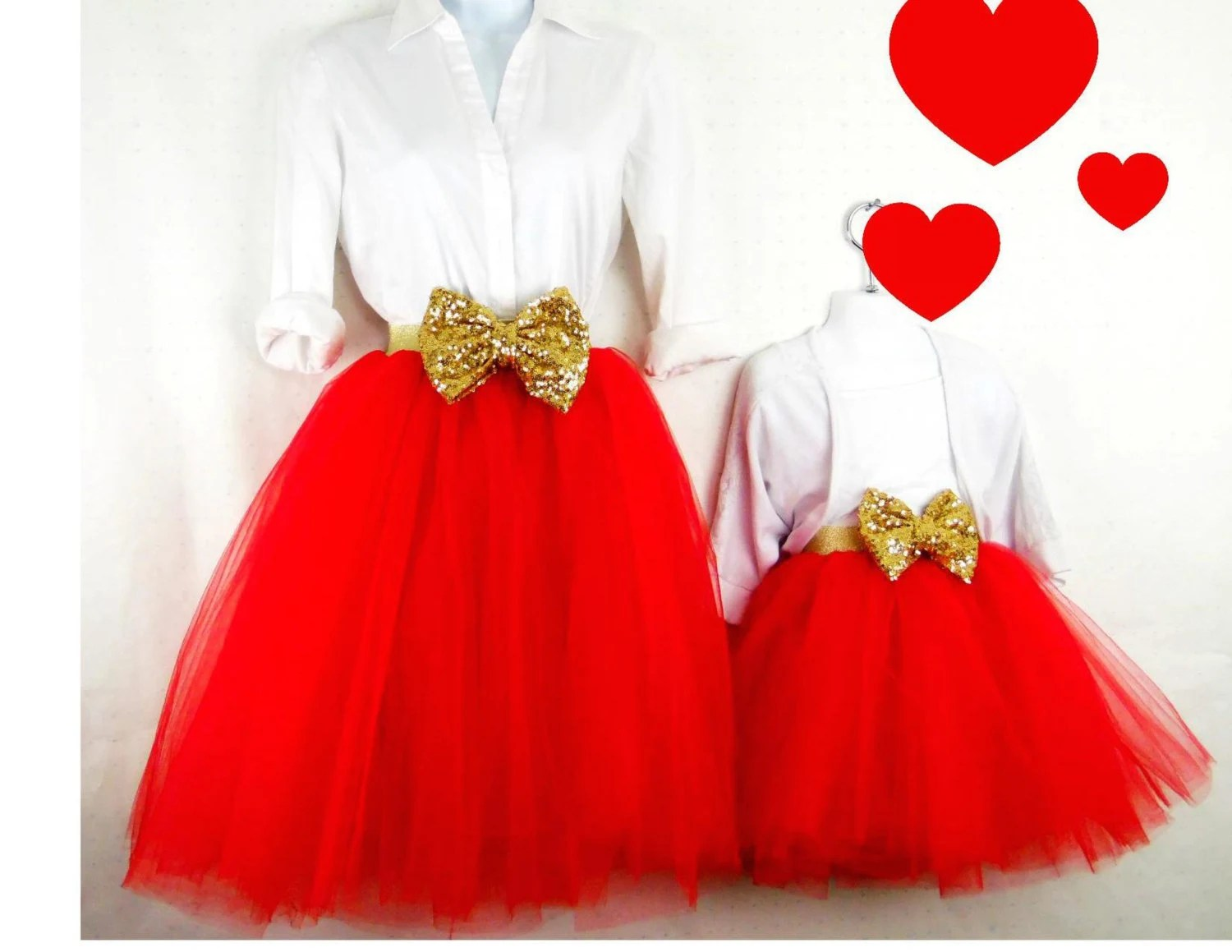 Mother Daughter Matching Red Valentines Day Tulle Skirts Mommy