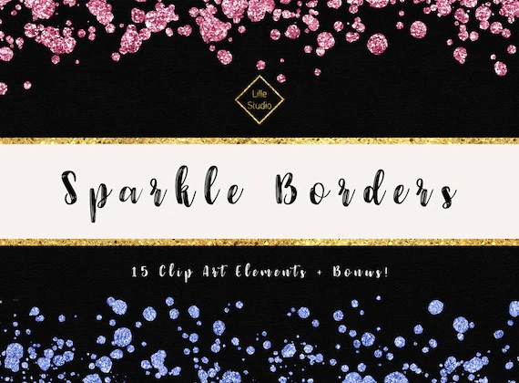 glitter confetti borders overlays