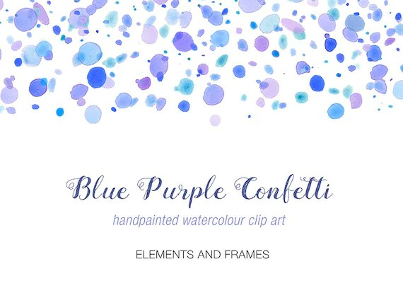 watercolour clip art purple blue